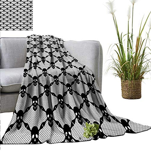 Gothic Decorative Throw Blanket Halloween Horror Theme Spooky Black Skulls Checkered Pattern with Skeleton Bones Fall Winter Spring Living Room 70