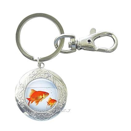Llavero con diseño de peces, cuenco de pez dorado, joyería para peces, pecera