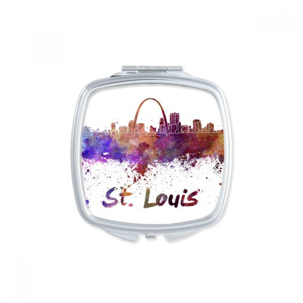 St.Louis America Country City Watercolor Illustration Square Compact Makeup Pocket Mirror Portable Cute Small Hand Mirrors Gift