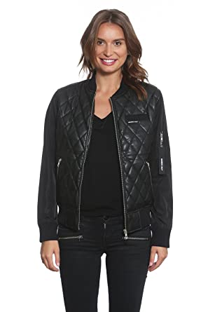 6fae05b730a088 Members Only Women s Faux Leather Quilted Bomber at Amazon Women s Coats  Shop