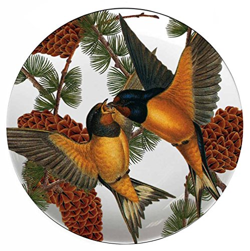 Set Plate Tidbit (Boston International Caskata Studio 4 Count Melamine Tidbit Topper Boxed Plate Set, Pine Birds)