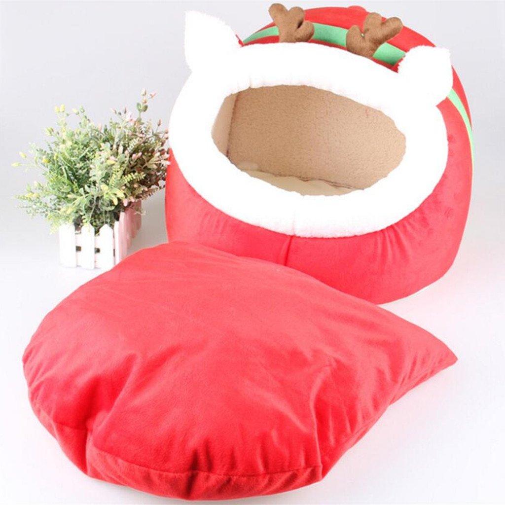 L Pet Dog Puppy Cat Soft Cute Reindeer Cozy Warm Nest Bed House Cotton Mat S-L L