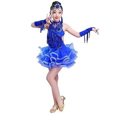 b00a20b56 BOZEVON Girls Latin Ballroom Dance Tutu Dress Sequin Backless Tied ...