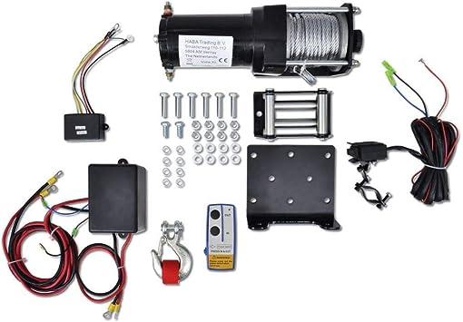 Motor Seilwinde Elektrische Winde Seilzug Set Fernbedienung 12v Zugkraft 1360kg Montageplatte Für Festmontage Drahtseil Länge 9m Auto