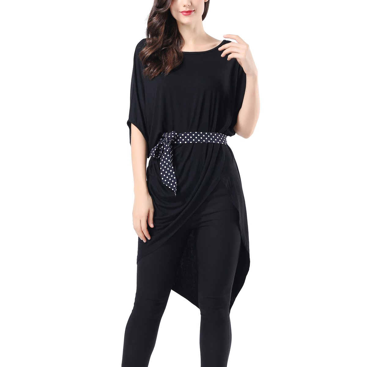 43672b75488 Top1  AVTOSRNO Women High Low Asymmetrical Short Sleeve Bodycon Tops Blouse Shirt  Dress Belted