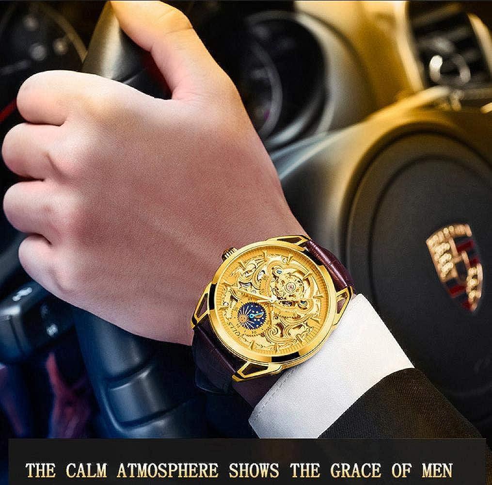 Montres Hommes,Montre Automatique Creuse Étanche À La Mode Et À La Mode avec Cadran Large D
