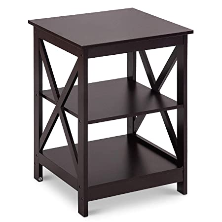 Giantex Nightstand W 2 Drawers and 3-Tier X-Design Storage Organizer Display for Living Room Bedroom HomeFurniture End Table 1, Coffee