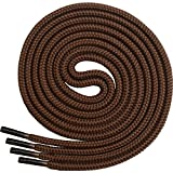 Miscly Round Boot Laces [1 Pair] Heavy Duty and Durable Shoelaces for Boots, Work Boots & Hiking Shoes (54', Brown)
