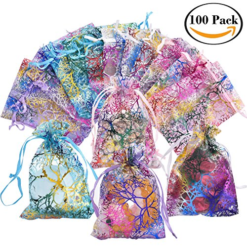 100pcs Drawstring Sheer Organza Bags Mixed Color Coralline Gift Jewelry Candy Chocolate Mesh Pouches for Wedding Party Bridal Baby Shower Birthday Engagement Christmas Holiday Favor, 4.5x3.7 Inch (Chocolate Cosmetics)