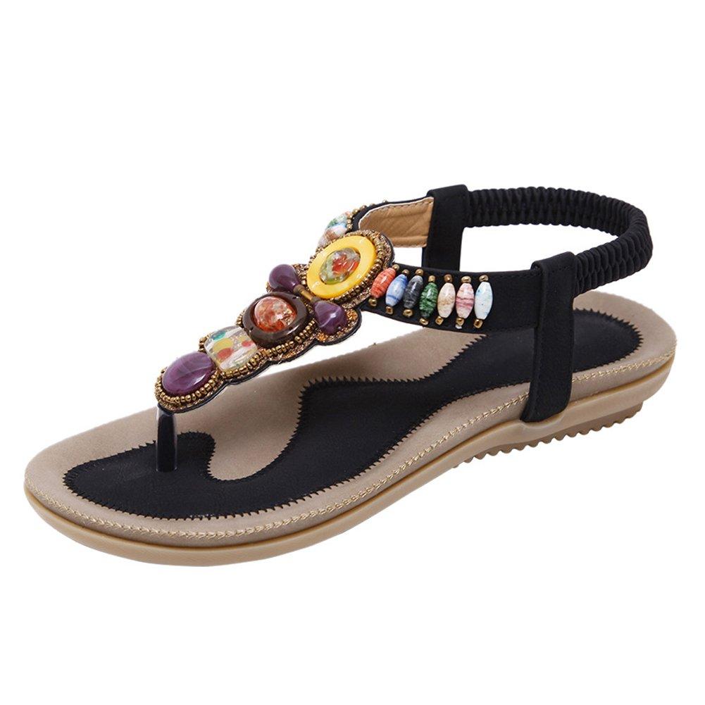fereshte Women's Beach Thong Gladiator Bohemian Beads Flip Flop Flat Dress Sandals