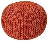 Pouf Ottoman Cotton Rope Pouf Ottoman, Orange, 16-Inch