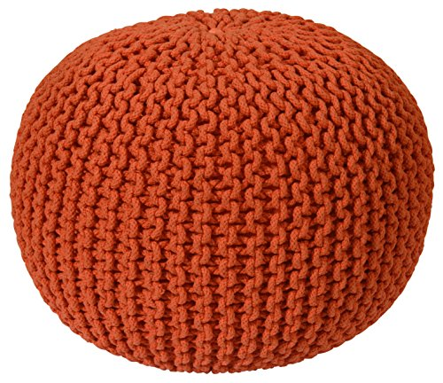 Pouf Ottoman Cotton Rope, Orange, 16-Inch
