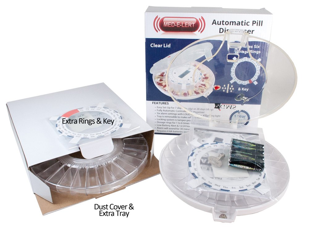 GMS 28 Day Automatic Pill Dispenser - 2Trays - Clear Lid w/ 6 Daily Alarms with 2 Trays, 2 Keys 2 sets of Dosage Rings by Group Medical Supply