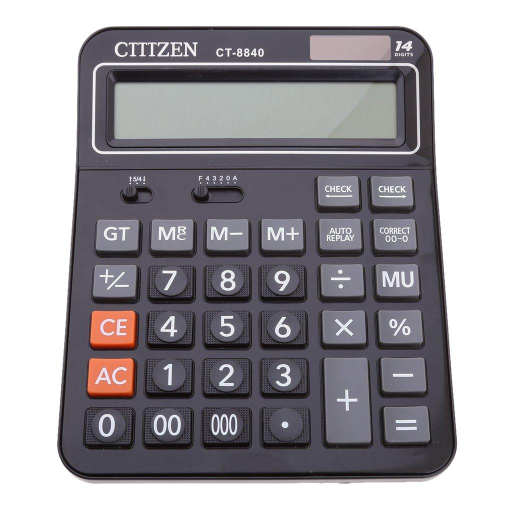Fityle Calculator Offices Shop Big Number Display 14-digit Calculator Standard Function Desktop Calculator Black