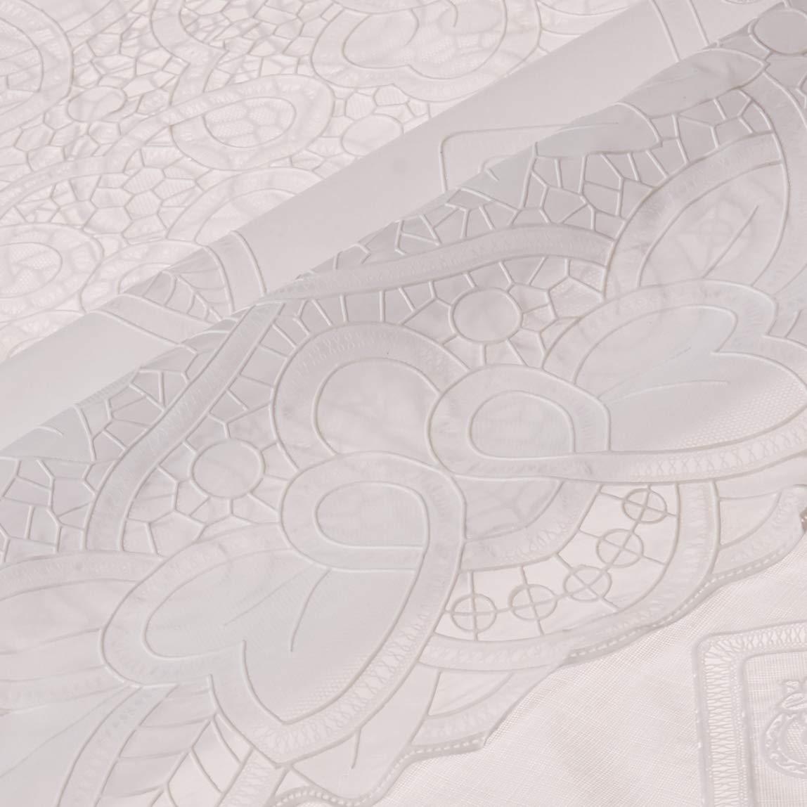 Violet Linen Vinyl Lace Betenburg Design Oblong//Rectangle Tablecloth 60 x 90 White VL 6700 WH-4