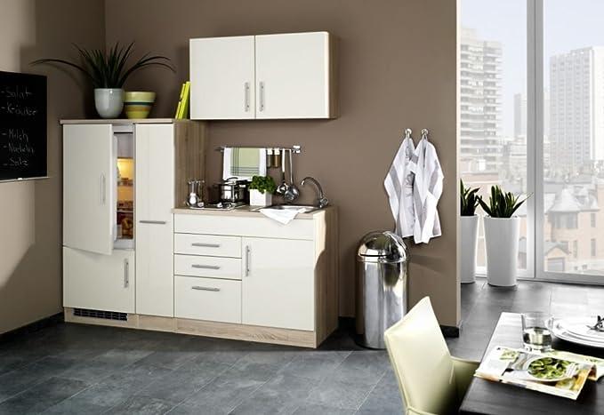 Single küche hochglanz creme 190 cm mit geräten spüle vancouver amazon de küche haushalt