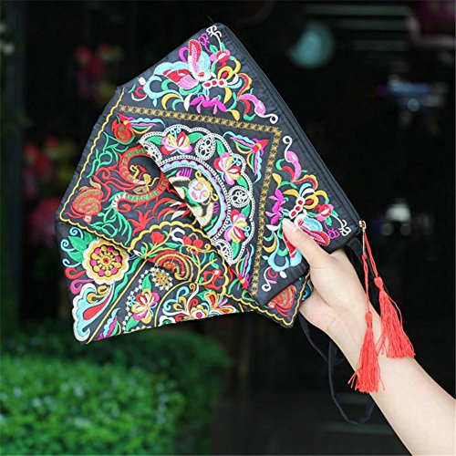 Clutch Canvas Embroidered Handbag Case butterfly Brief for Shoulder Clutch Bag Embroidered Ethnic C Women Satin Bag vqHEwwd