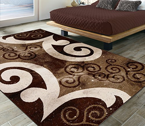 (City Collection Contemporary Modern Sculpted Effect Area Rug - Brown Beige Abstract Swirl Area Rug 5x7 (5'3