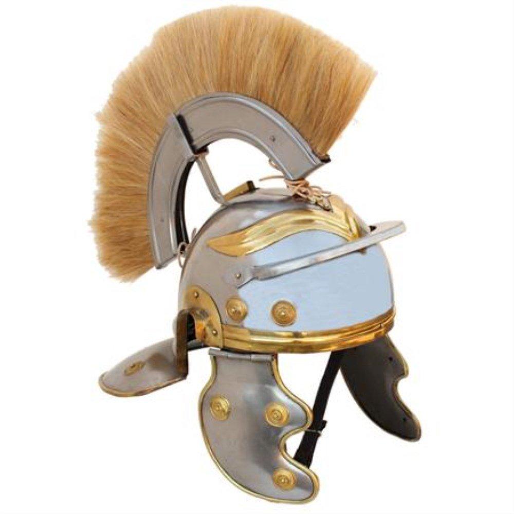 Roman Infantry Imperial Centurion Replica Steel Helmet With Blonde Natural Plume LARP Costume