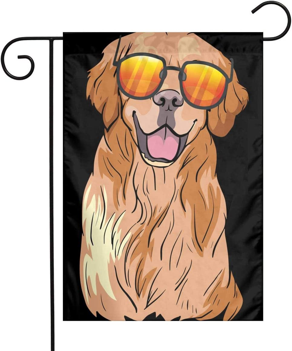 Funny Golden Retriever Dog Garden Flags House Indoor & Outdoor Holiday Decorations,Waterproof Polyester Yard Decorative for Game Family Party Banner