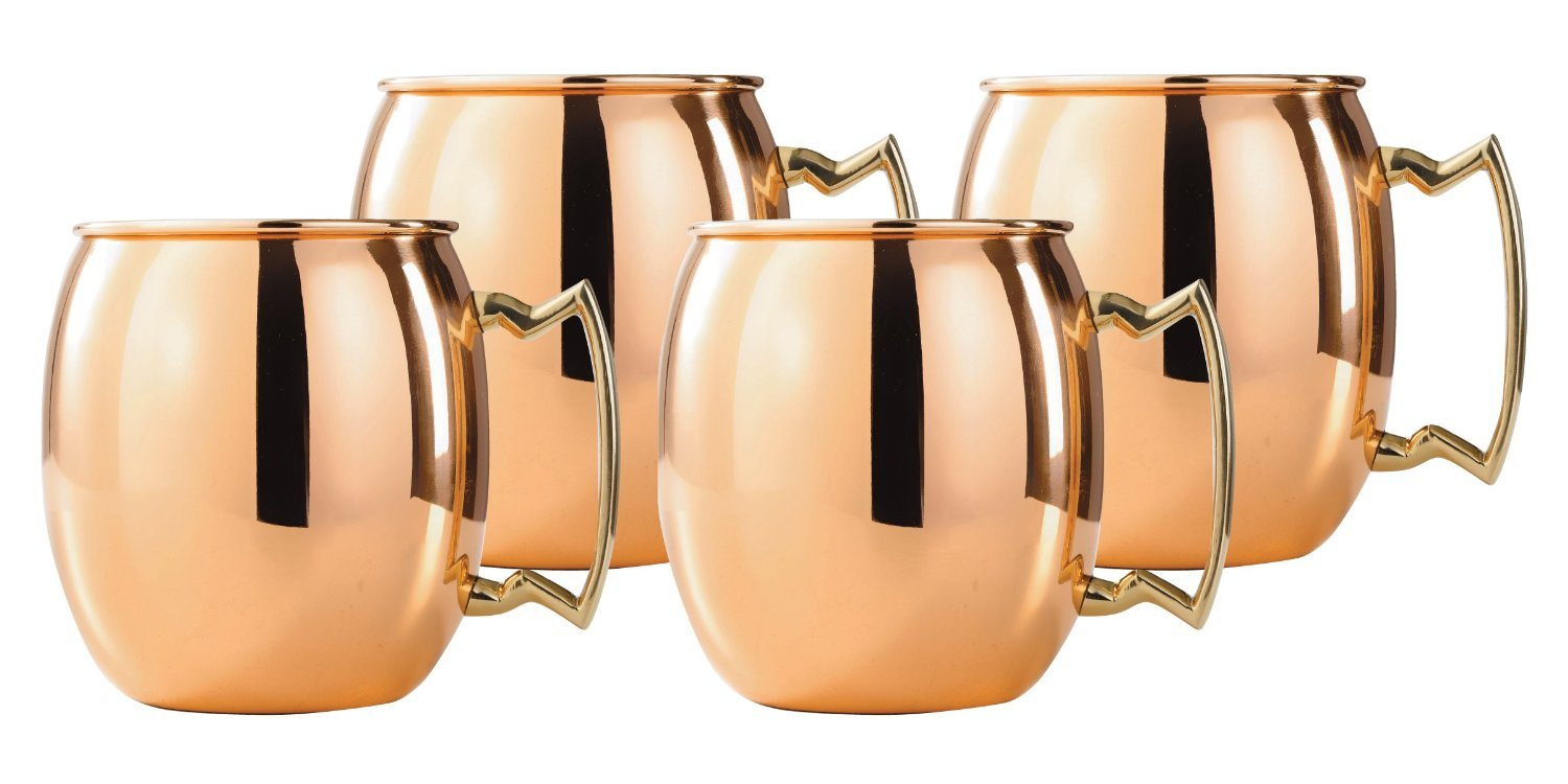 MOSCOW MULE SET OF 4 16 OUNCE MUGS SOLID COPPER
