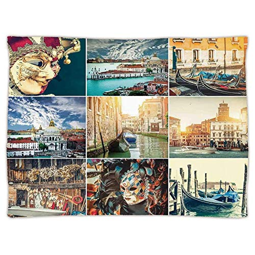 Yaoni Super Soft Throw Blanket Custom Cozy Thickened Blanket,Italian,ed Masks for Carnival of Venice Baroque Style Gondolas River Italy Landmark,Multicolor,Suitable for Sofas,beds (Carnival Mask Italian)