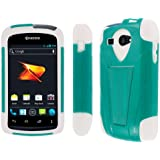 Kyocera Hydro Case (C5170), MPERO IMPACT X Series Dual Layered Tough Durable Shock Absorbing Silicone Polycarbonate Hybrid Kickstand Case for Hydro [Perfect Fit & Precise Port Cut Outs] - Teal / White