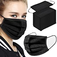 Fancrout 50 Pcs Black Disposable Face 3 Ply