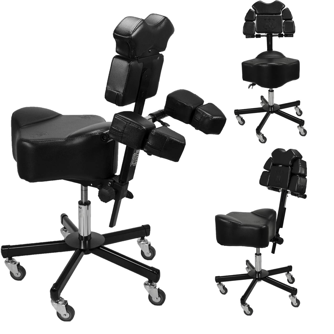 Brand New InkBed Patented Adjustable Ergonomic Chair Stool Chest Back Rest Support Tattoo Studio Equipment (Black) by InkBed