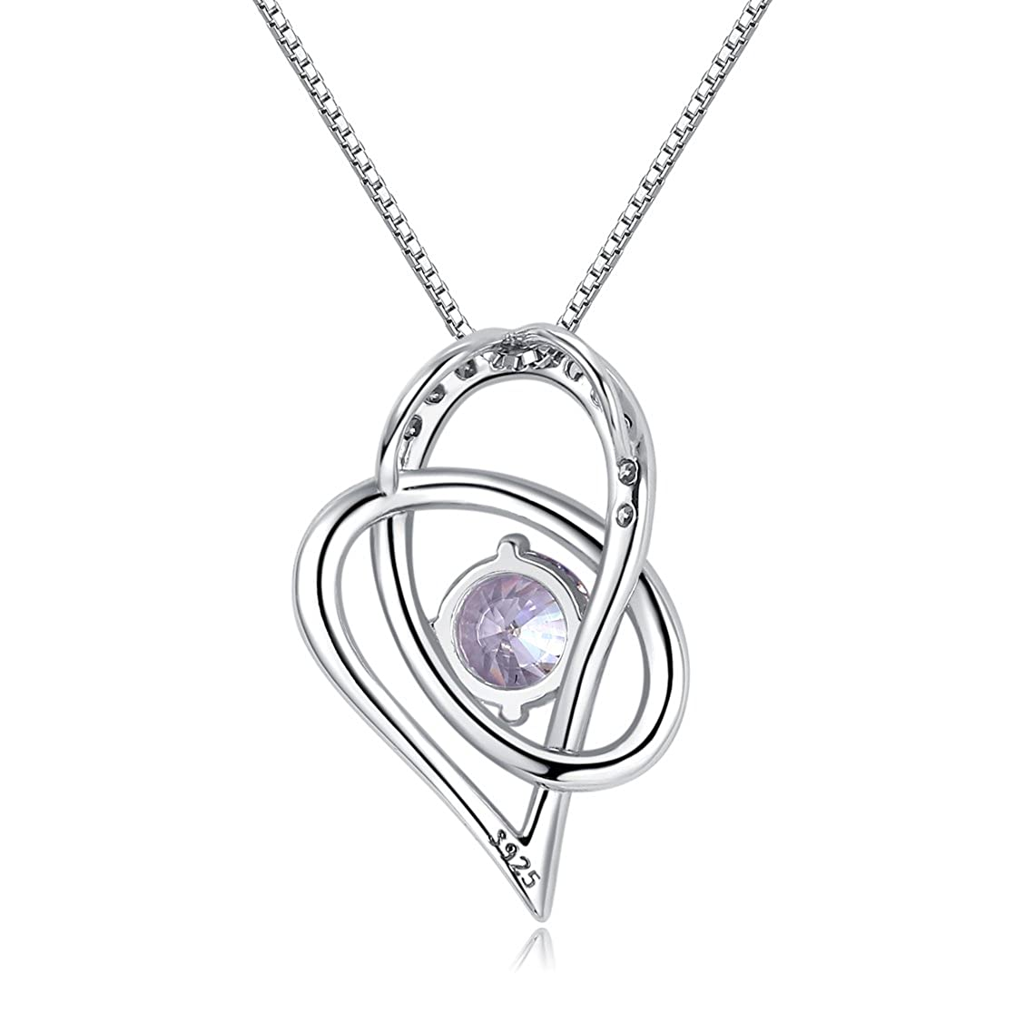 SILVERLUXY Fine Jewelry Sterling Silver Heart in Love Charm Pendant Necklace 18 inches