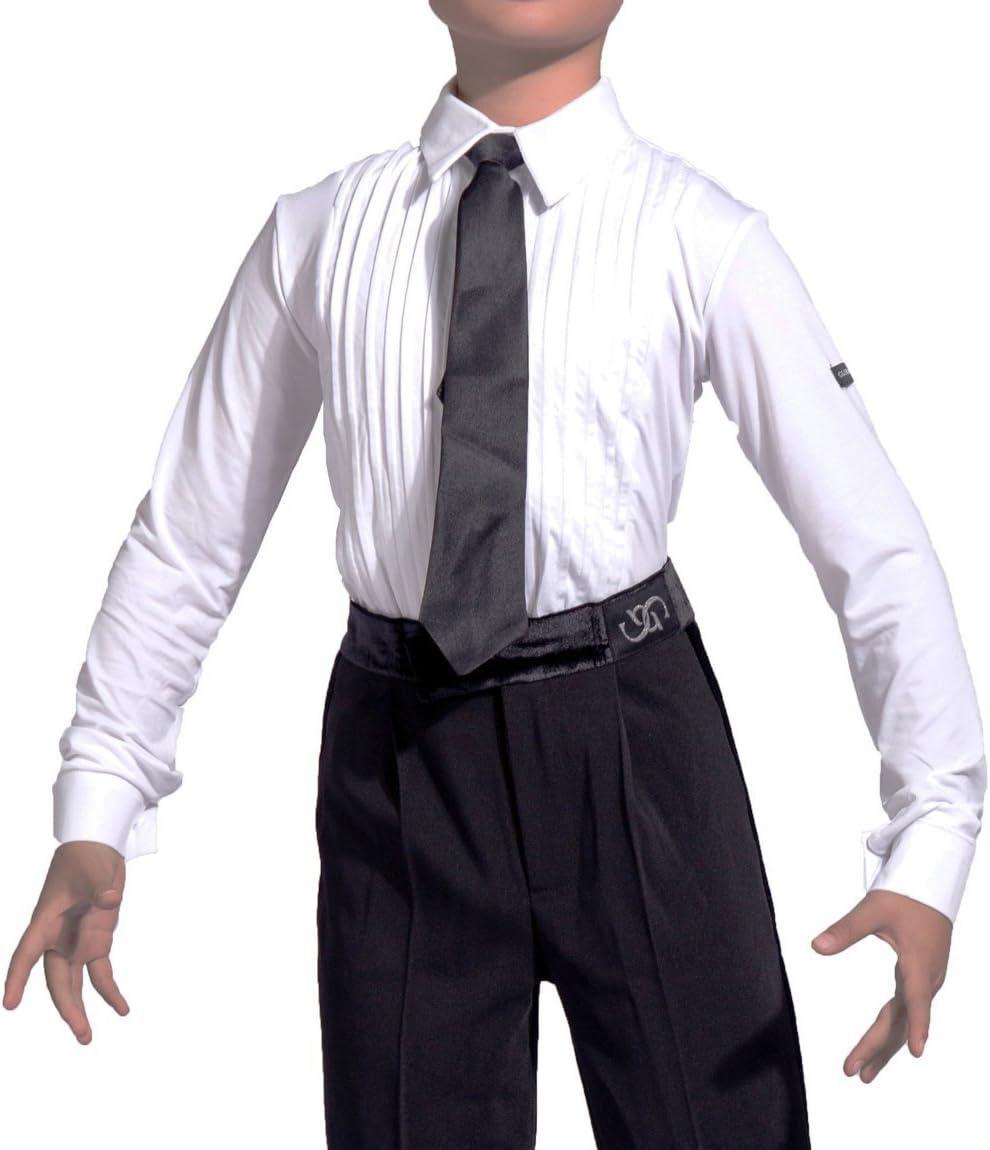 GD5102 Niño Profesional ropa de carrera/rendimiento Latino latin Moderno Y de Danza estándar baile Fiesta Para Los Chico(Nota: las camisas y pantalones deben comprarse por separado) (160, (Sbs)shirts(white)): Amazon.es: Deportes y aire