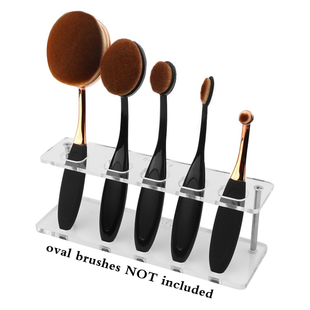 DSCbeauty 5 Holes Holder for Holding 5 Pcs Oval Makeup Brush Set Toothbrush Makeup Brush Kit Drying Rack Oval Brushes Organizer Display Stand Rectangle Clear