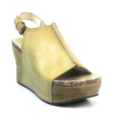 2e78d4f9ec81a5 Pierre Dumas Women s Faux Leather Fashion Slingback Wedge Sandals Hester-14  (6