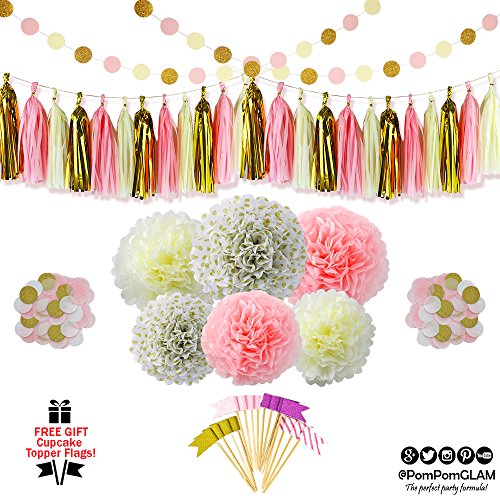 Pink Gold Party Supplies Decorations Kit with FREE Cupcake Toppers Flags Picks By PomPomGLAM