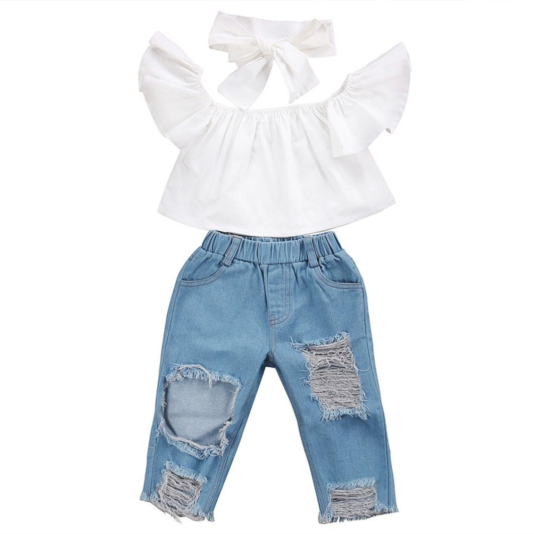 Toddler Little Girls Baby Off Shoulder Crop Tops + Hole Denim Pant Jean Headband Clothes Set 1-5T (White, 3T(2-3Years))