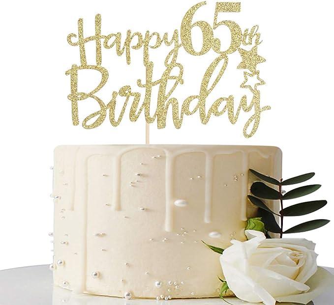COLOURFUL HAPPY 65TH BIRTHDAY PRECUT EDIBLE CAKE TOPPER 7.5 INCH KC9022G