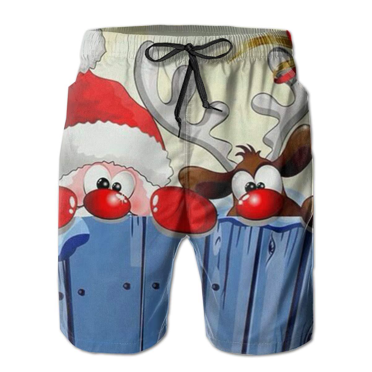 Tyugvvo Merry Christmas Funny Swim Trunks Quick Dry Beachwear Sports Running Swim Board Shorts Mesh Lining