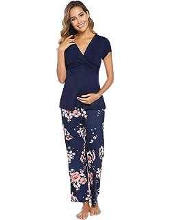 Be Mammy Grossesse Pyjama Allaitement Ensemble Haut et Bas V/êtements dInt/érieur Femme R4S2