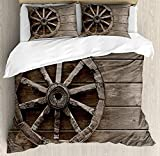 Barn Wood Wagon Wheel Twin Duvet Cover Sets 4 Piece Bedding Set Bedspread with 2 Pillow Sham, Flat Sheet for Adult/Kids/Teens, Antique Aged Carriage Vehicle Wheel on the Wall of Barn Grunge Western