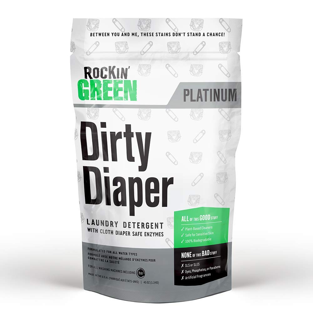 Rockin' Green Platinum Series Dirty Diaper Powdered Laundry Detergent, 45 oz. - All Natural, Biodegradable, and Eco-Friendly