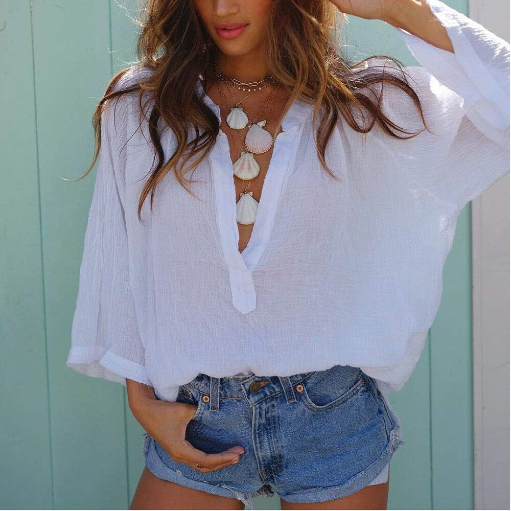 TOYFUNNY Women Fashion Casual Solid Color Summer T-Shirt Shopping Holiday Essentials Tops INS Popular