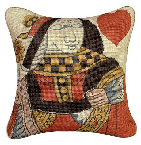 [Deluxe Pillows Queen of Hearts 12 x 12 Petit Point Pillow] (Petit Point Heart)