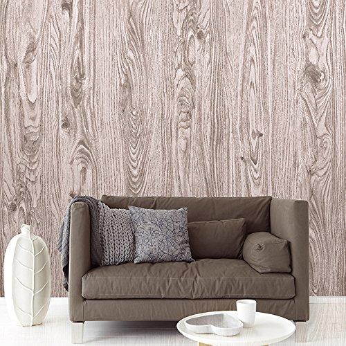 "HaokHome® 3205 Wood Panel Textured Vinyl Wallpaper Murals For Home Living Room Decor 20.8"" x 393.7"" (Wood)"