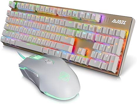 kkmoon Ajazz mecánica USB Teclado 104 teclas RGB Luces Gaming ...