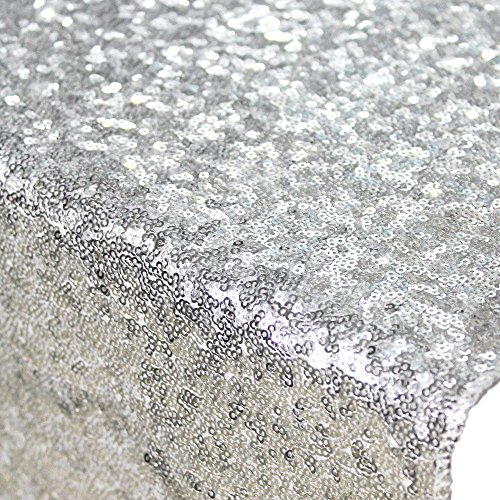 ShiDianYi 1 Yard Sequin Fabric,shiny Silver Sequin Glamorous Tablecloth for Wedding/dessert Table,125cm (Silver Sequin Fabric)