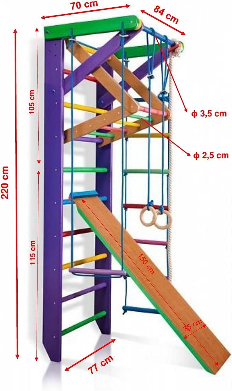 Pared de gimnasia con estructura de escalada 3 – 220 lila de ...