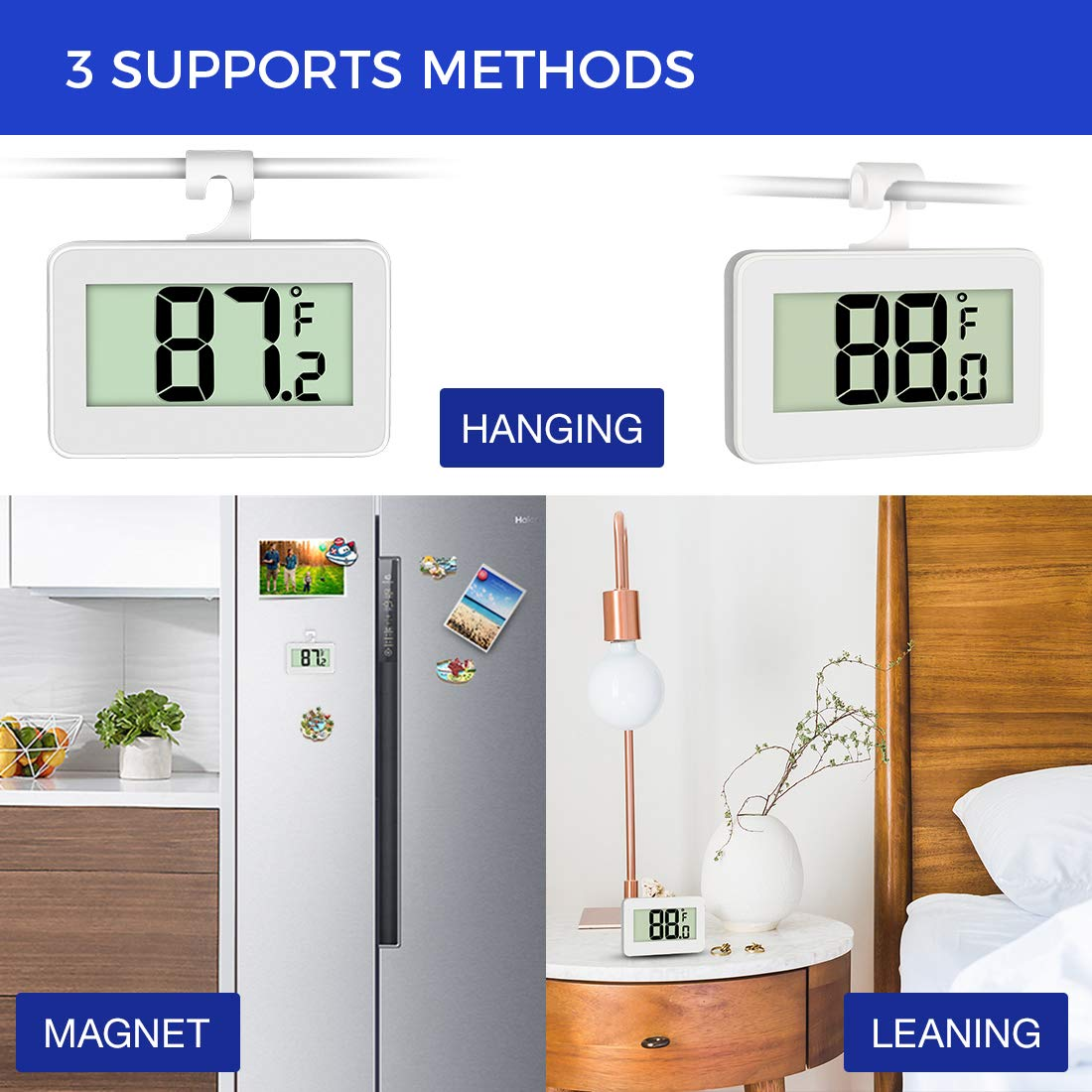 2 Pack Digital Freezer Thermometer Waterproof Room Thermometer with Hook Large LCD Display AOVIOAN Mini Refrigerator Fridge Thermometer