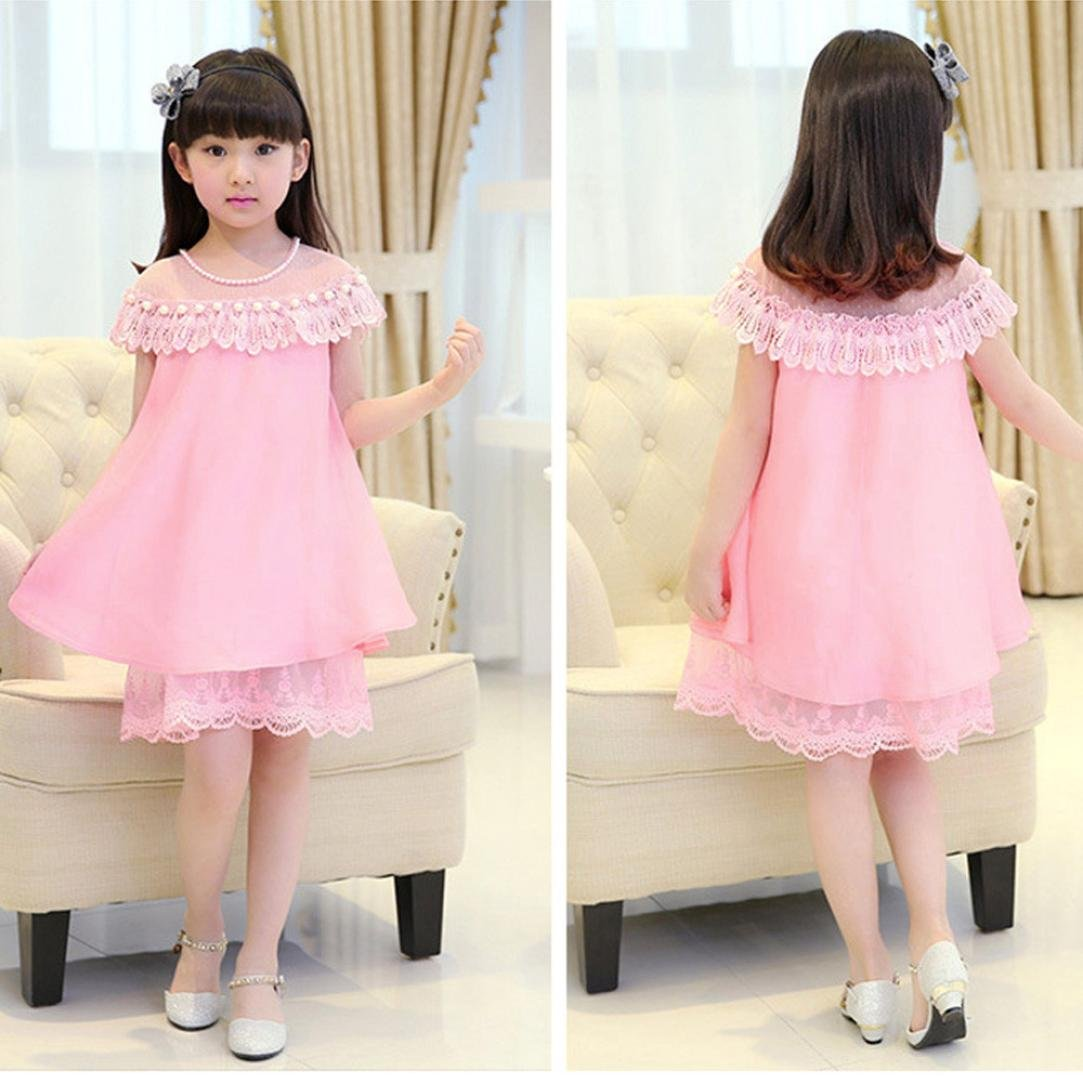 Fabal Baby Girls Childrens Evening Clothing Kids Chiffon Lace Princess Party Pearl Dress