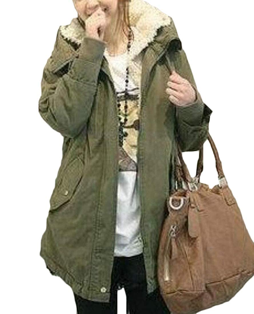S-Fly Women Winter Thick Cotton Fleece Lined Hooded Anoraks Sherpa Parka Jacket