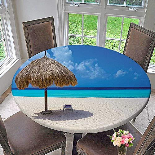 Mikihome Round Premium Tablecloth Seaside Parasol and Chair Sunny Day in Romantic Caribbean Print Ivory Aqua Stain Resistant 55